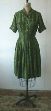 50's Vintage Dress Pleated Cotton Sateen Green Bambo Print Custom M Dress Size