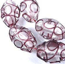 Lampwork Handmade Glass Silver Foil Srcoll Barrel Beads (5) - Amethyst