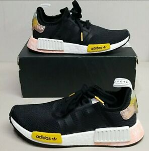 Rare Adidas NMD_R1 Black/White/Peach Special Edition Sneakers Women's US Size 7