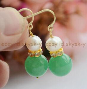 7-8mm White Pearl & 12mm Multi-Color Gemstone Round Beads Dangle Hook Earrings
