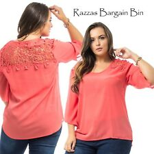 New Ladies Coral Chiffon Top With Lace Back Plus Size 16/2XL (9882)MQY