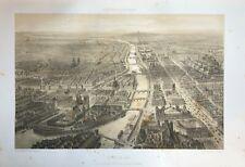 RARE LITHOGRAPHIE  PARIS EN 1860 AVEC NOTRE DAME FORMAT IN FOLIO