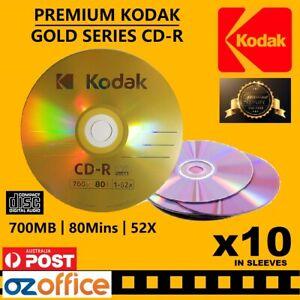 PREMIUM 10 x KODAK CD R Gold Blank CD R 52X 80mins 700MB TDK CD Disc Quality
