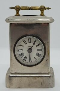 Antique Working 1800's E.N. Welch Miniature Nickel Carriage Clock Travel clock