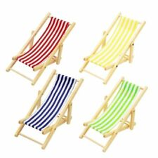 1 pc Random Color Miniature Dollhouse Foldable Wooden Beach Chair Toy