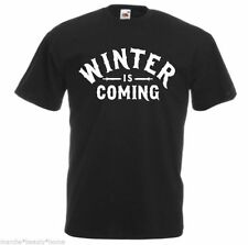 MEN'S winter is coming game of thrones loose fit t shirt black XL  tv slogan