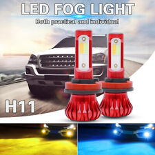 H11 H8 H9 LED Fog Light Bulb 3K Yellow + 8K Ice Blue Dual Color with Strobe Mode