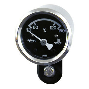 MMB Mini Ölthermometer, Basic Chrom-Schwarz, für Harley-Davidson