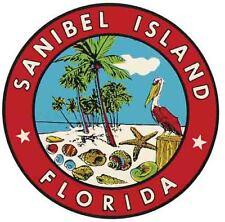 Sanibel Island  FL    FLORIDA    Vintage 1950's Style   Travel Sticker Decal
