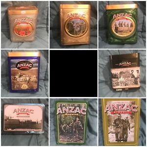 ANZAC biscuit tins set of 8, different years