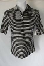 NEW Womens Polo Blouse Size Small Collar Top Short Sleeve Shirt Black Striped