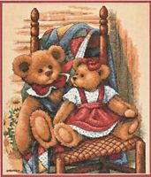 New Sealed Modern Cross Stitch Embroidery Kit Dimensions 35103 Teddies on Quilt
