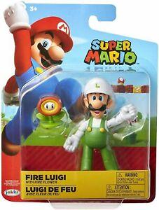 Super Mario 4 Inch Fire Luigi with Fire Flower Brand New
