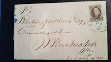 Us stamps 19th century used EAS scott #1 on cover w/blue town cancel
