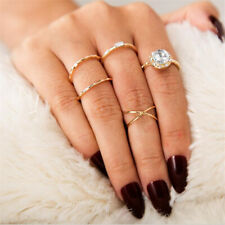 Set 5pcs Boho Simple Crystal Finger Knuckle Ring Band Midi Rings Stacking Ring