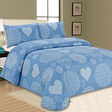 Californian Blues Design Quilt Duvet Cover Bed Set With 2 Pillowcases King Size
