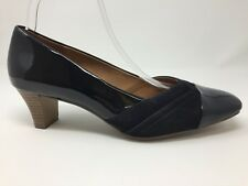 Clarks Wide Fit Navy Blue Ladies Court Shoes Size 7 UK Patent and Suede