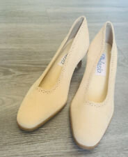 Vintage Palazzo Nude Tan Beige Suede 2� Heel Oxford Pump Made in Brazil Size 6.5