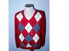 IZOD Argyle Sweater Red Gray White Pullover V Neck XL Extra Large New w Tag