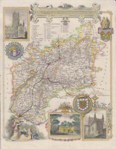 1842 Very Decorative Moule Map of Gloucestershire