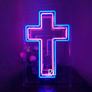 "Cross Neon Sign Light Acrylic Box Lamp Wall Hanging Man Cave Nightlight Gift 19"""