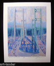 Tacoma Narrows Bridge Three Way Traffic Ltd Ed Print by MARSHALL JOHNSON 8.5x11