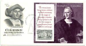1992 FDC, $5.00 COLUMBIAN SOUVENIR SHEET COVER