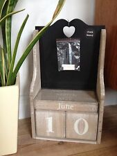 BEAUTIFUL LARGE WOODEN BLOCK CALENDAR WITH BLACK CHALKBOARD VINTAGE HOME DECOR