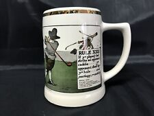 Vintage 1962 Perrier Mug Stein Rules of Golf Delano Studios Art Hand Colored Euc