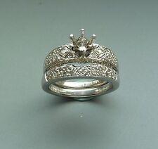 PLATINUM  DIAMOND  SEMI-MOUNT ENGAGEMENT RING  BRIDAL SET 0.75 TCW