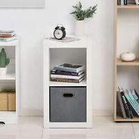 HOMCOM 2-Tier Storage Shelf Display Cabinet Shelving Unit Fabric Drawer, White