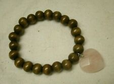 handmade Wood Bead & Rose Quartz Heart Bracelet stretchy gemstone stone love gem