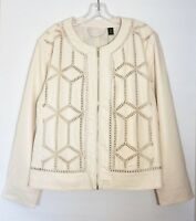 NWT $229 Chico's Black Label Faux Leather Jacket, Natural Cream, 3 (XL - 16/18)