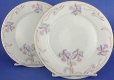 Bohemia Ceramic Works Czechoslovakia Orchid Iris 2 Salad Plates Vintage