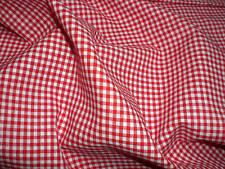Coupon de tissu popeline 100% COTON VICHY 3 mm ROUGE 75 X 50 cm