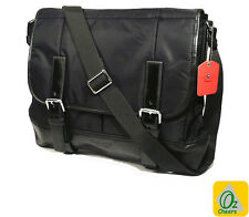 Black 12 to 13 inch Laptop Notebook Table Nylon Leather Cross Body Messenger Bag
