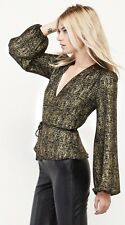 Reformation gold lamé black Stevie top blouse wrap top Size L Worn Once