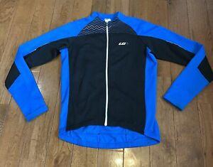 Mens Louis Garneau Full Zip Cycling Jacket Coat Blue Black Sz Large