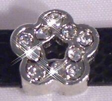 ♥ Blume Strass silber Slider für Armband Slide Charm Schiebe Modul ♥ MLAB006
