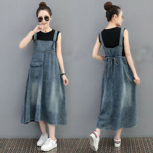 Womens Denim Overall Dress Ladies Jean Suspender Skirt Long A-line Fit Fashion
