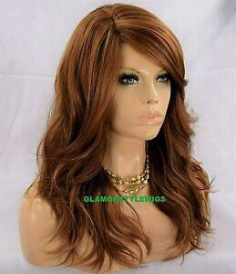 HUMAN HAIR BLEND FULL WIG LONG WAVY LAYERED BANGS AUBURN MIX HAIR PIECE NWT