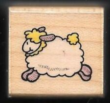LAMB JUMPING Fluffy Wool FARM PET Animal HERO ARTS A945 1994 wood RUBBER STAMP