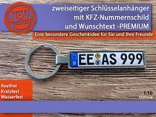 Zweiseitiger Schlüsselanhänger mit Wunschtext, Geschenkidee, KFZ, PREMIUM