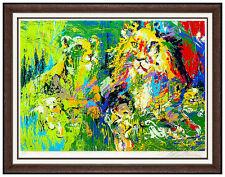 LeRoy NEIMAN Serigraph Original Big Cat Lion Family Hand Signed Artwork Painting