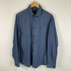 Trent Nathan Mens Button Up Shirt Size L Large Slim Blue Long Sleeve Collared