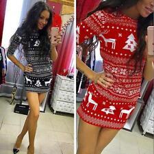 Winter Women Long Sleeve Xmas Knit Dress Deer Christmas Short Mini Dress W0L2