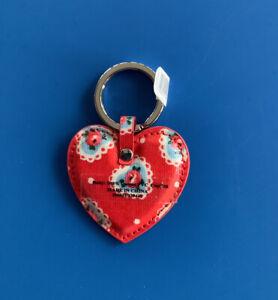 Cath Kidston Lace hearts Red Keyring key fob-BNWT