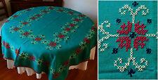 Jolie NAPPE entièrement BRODEE MAINS points de croix 150x125 cm