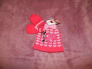 BNWT Girls Minnie Mouse Hat & Mittens Set In Size 6-12 Months