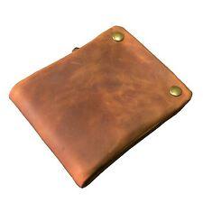 Men's genuine leather pocket Wallet Snap Bifold short purse zipper coin pocket